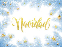 Feliz Navidad Merry Christmas en la tarjeta de felicitación española, cartel Foto de archivo libre de regalías