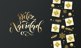 Feliz Navidad Merry Christmas golden lettering text on premium black background. Vector Navidad Spanish Christmas greeting card. Calligraphy lettering, gifts vector illustration