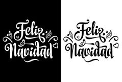 Feliz navidad. merry christmas Lettering composition with phrase in Spanish language. Merry christmas, Feliz navidad. Lettering composition with phrase in royalty free illustration