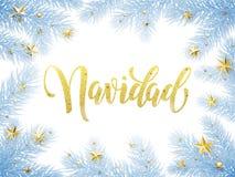 Feliz Navidad Merry Christmas no cartão espanhol, cartaz Foto de Stock Royalty Free