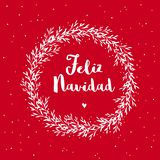 Feliz Navidad - Merry Christmas. Spanish Christmas Vector Card. stock illustration
