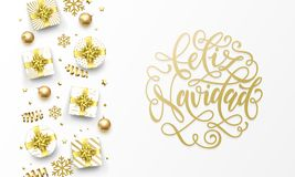 Feliz Navidad Merry Christmas Spanish golden greeting card, gold gifts, stars confetti and snowflakes glitter. Vector Spanish Navi royalty free illustration