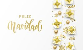 Feliz Navidad Merry Christmas Spanish golden greeting card of gold gifts, stars confetti and snowflakes. Vector premium Christmas. Design template, calligraphy vector illustration