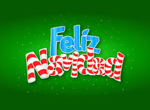 FELIZ NAVIDAD -Merry Christmas in Spanish language- Green cover of greeting card with stars in background. Size: 15 cm x 11 cm Royalty Free Stock Image