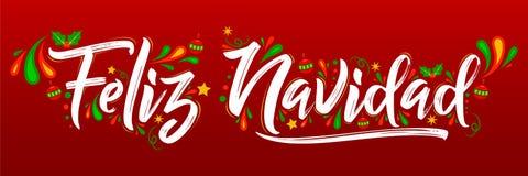 Feliz Navidad, Merry Christmas spanish text holiday lettering vector illustration vector illustration