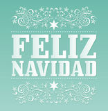 Feliz Navidad. Merry Christmas spanish text - Vector Calligraphic Lettering Royalty Free Stock Photo