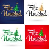 Feliz Navidad, Merry Christmas Spanish text Vector Collection Set, Pine Lettering Shape stock illustration