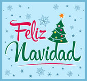 Feliz Navidad - Merry Christmas spanish text Royalty Free Stock Image