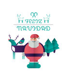 Feliz navidad message with illustrations Royalty Free Stock Photos