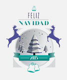 Feliz navidad 2015 message with illustrations Stock Image