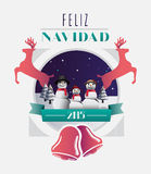 Feliz navidad message with illustrations Royalty Free Stock Photo