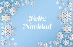 Feliz navidad message with snowflakes Royalty Free Stock Photography