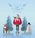 Feliz navidad message vector with hipster illustrations Royalty Free Stock Photos