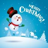 ¡Feliz Navidad! Muñeco de nieve que siente excitado ilustración del vector