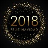 2018 Feliz Navidad na czarnej etykietce z złotymi błyskotliwość confetti Obraz Stock