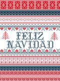 Feliz Navidad Nordic style vector seamless Christmas patterns inspired by Scandinavian Christmas, festive winter in cross stitch. With heart, snowflake, star Stock Illustration