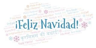 Feliz Navidad ordmoln - glad jul på spanskt språk och andra olika språk royaltyfri illustrationer