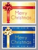 Feliz Navidad Oro y tarjetas de felicitación azules Imagen de archivo libre de regalías