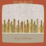 Feliz Navidad, paisaje urbano hecho del papel en fondo del invierno Foto de archivo libre de regalías