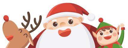 Feliz Navidad Papá Noel con el duende y el reno libre illustration