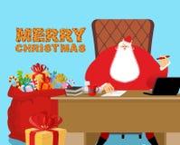 Feliz Navidad Papá Noel en el trabajo Bolso rojo grande con los regalos para libre illustration