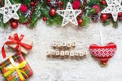 Feliz Navidad Papá Noel en un trineo Fotografía de archivo
