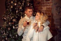 Feliz Navidad Pares jovenes que celebran Año Nuevo en casa Cacao de consumición del hombre y de la mujer Fotos de archivo libres de regalías