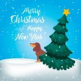 Feliz Navidad Perro divertido de la historieta Foto de archivo