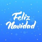 Feliz Navidad Projeto de rotulação espanhol do texto do Feliz Natal Cartão do feriado ilustração stock