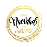 Feliz Navidad, Prospero Ano Nuevo Spanish New Year Christmas text Royalty Free Stock Photography