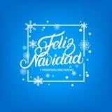 Feliz Navidad ręka pisać literowanie Rama z spada płatkami śniegu i śniegiem Fotografia Stock