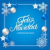 Feliz Navidad ręka pisać literowanie z srebnym dekoracja ornamentem Fotografia Royalty Free
