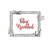 Feliz Navidad ręki literowania kartka z pozdrowieniami Nowożytna kaligrafia ilustracji