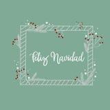 Feliz Navidad ręki literowania kartka z pozdrowieniami Nowożytna kaligrafia Zdjęcia Stock