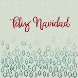 Feliz Navidad ręki literowania kartka z pozdrowieniami ilustracja wektor