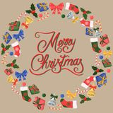 Feliz Navidad Regalos, campanas, arcos y más stock de ilustración
