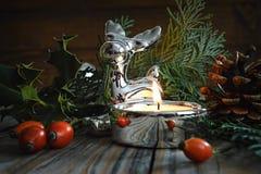 Feliz Navidad: Reno de la Navidad y decoración natural Imagen de archivo libre de regalías