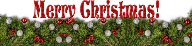 Feliz Navidad roja con las bolas imagen de archivo libre de regalías