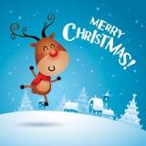 ¡Feliz Navidad! Rudolph Reindeer que siente excitado stock de ilustración