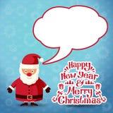 Feliz Navidad Santa Claus con la burbuja del discurso para Fotografía de archivo libre de regalías