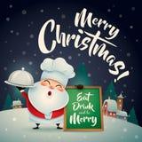 ¡Feliz Navidad! Santa Claus en escena de la nieve de la Navidad Papá Noel en un trineo ilustración del vector