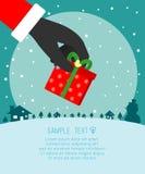 Feliz Navidad, Santa Claus Holding Christmas Gift, plantilla para el folleto de publicidad, su texto, Santa Claus y el marco, nue stock de ilustración