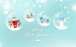 Feliz Navidad, Santa Claus y niño con el regalo, el reno y el sno ilustración del vector