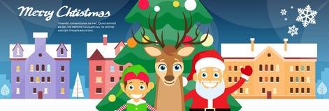 Feliz Navidad Santa Clause Reindeer Elf Fotografía de archivo