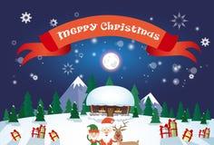 Feliz Navidad Santa Clause Reindeer Elf Character sobre tarjeta de felicitación del cartel del pueblo de la casa de la nieve del  Foto de archivo