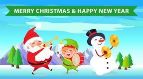 Feliz Navidad Santa Nature Vector Illustration Foto de archivo
