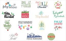 Feliz Navidad. A series of designed Feliz Navidad text. enjoy stock illustration