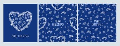 Feliz Navidad Sistema de la tarjeta de Navidad y modelos inconsútiles con los corazones, conos, picea del pino, copos de nieve Fotografía de archivo libre de regalías