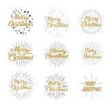 Feliz Navidad Sistema de la tipografía Diseño de letras del ejemplo del vector que brilla Usable para las banderas, las tarjetas  Imagen de archivo libre de regalías