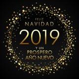 2019, Feliz Navidad Spanish-groetkaart, vertaalt: Vrolijke Kerstmis en Gelukkig Nieuwjaar royalty-vrije illustratie